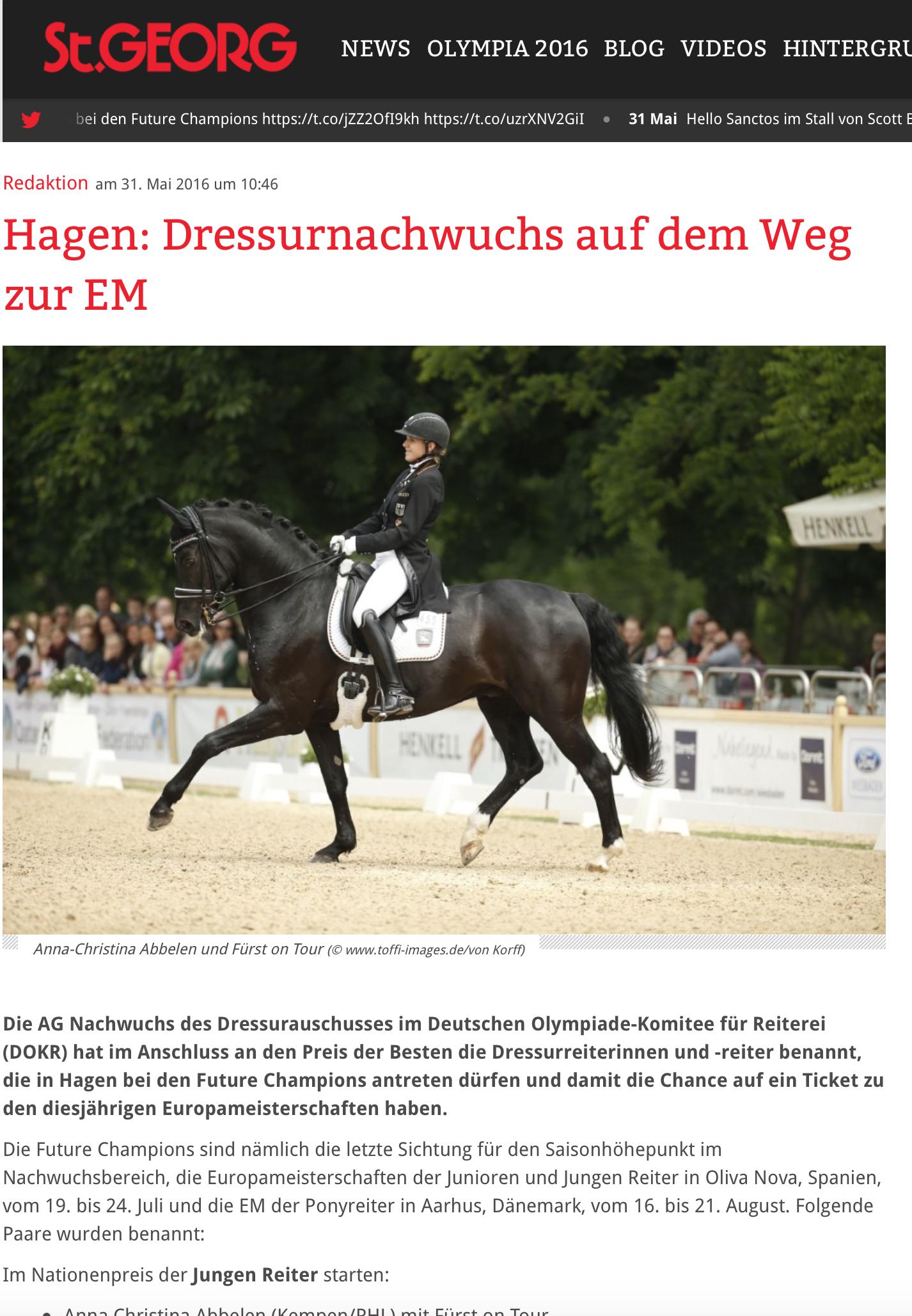 Hagen: Dressurnachwuchs auf dem Weg zur EM
